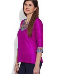 Buy Pink plain dupion_silk stitched kurti plus-size-kurtis online