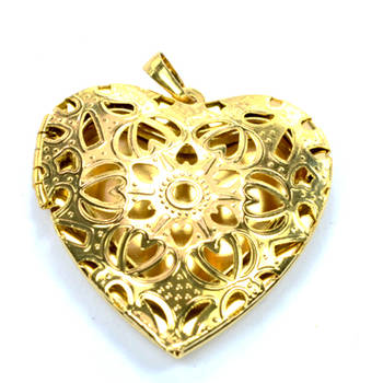 """Diovanni  Goldz Collection 1.64"""" Open Heart  Pendant crafted with elegant design"""