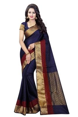 Nirja Creation Blue Color Fancy Partywear Banarasi Silk saree