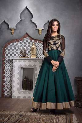 Green embroidered dupion_silk semi stitched salwar with dupatta