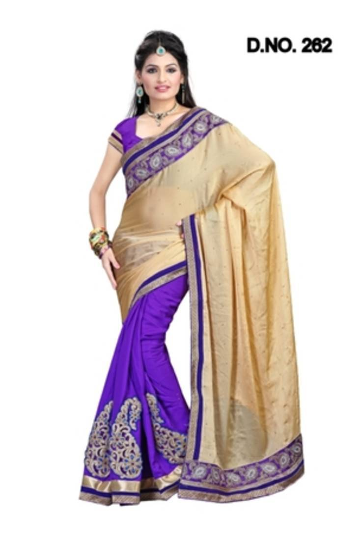 Buy Satin Half Half Chikoo Purple Saree Online