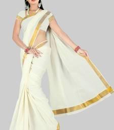 Buy White plain cotton saree  Saree online