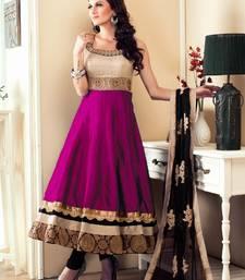 Buy Dark pink embroidered satin salwar with dupatta wedding-season-sale online