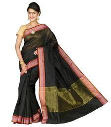 Buy Black plain cotton silk saree  Saree online
