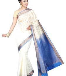 Buy White plain cotton silk saree  Saree online