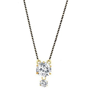Gold Plated Pendant Crystal Mangalsutra with Beaded Chain for Women