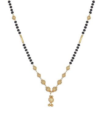Gold Plated Pendant Mangalsutra with Beaded Chain for Women