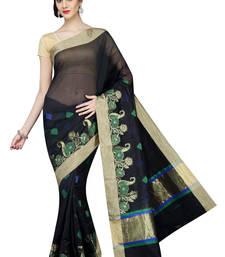 Buy Black plain cotton silk saree  Saree online