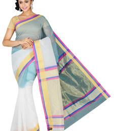 Buy Multicolor plain cotton silk saree  Saree online