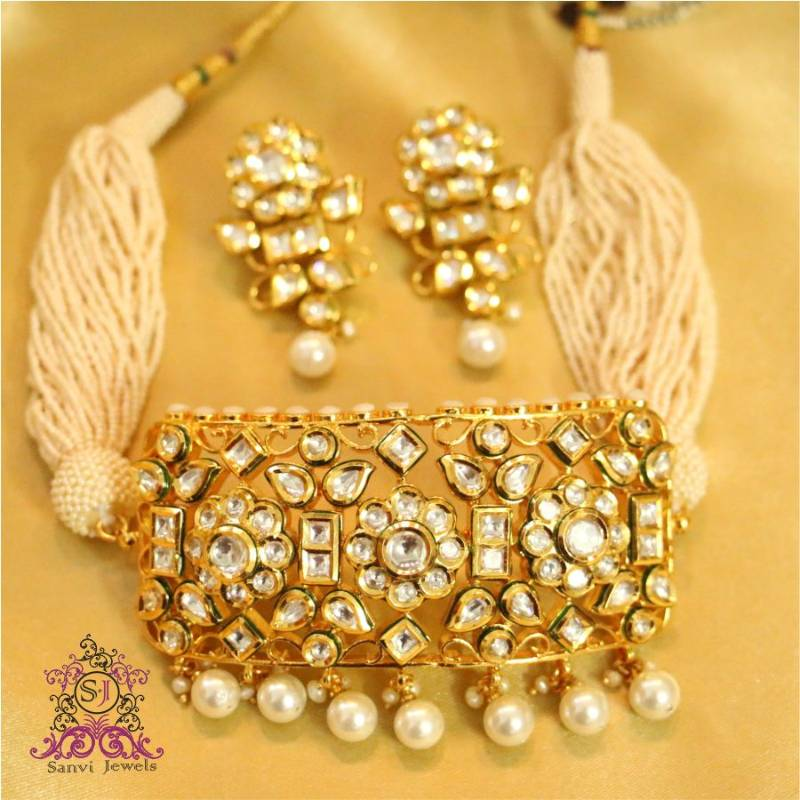b134ea39a Royal kundan   Pearl Choker Necklace Set - Sanvi Jewels Pvt. Ltd. - 274705