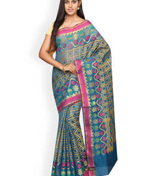 Buy Blue plain cotton silk saree  Saree online