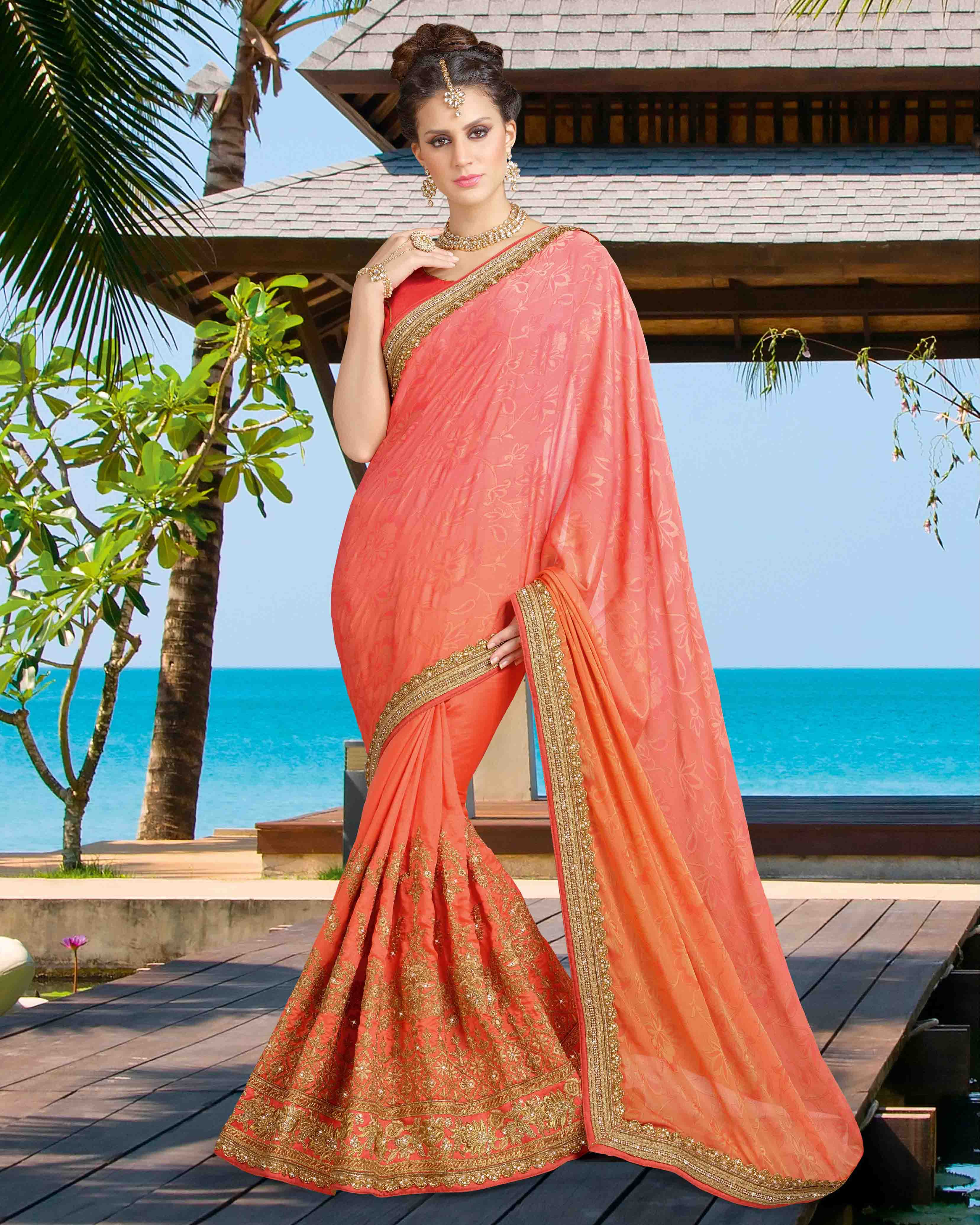 8fd88c0f3a1f15 Salmon embroidered silk saree with blouse - Monjolika - 2065019