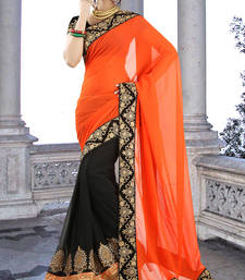 Buy Stunung  Orange Black Saree other-actress-saree online