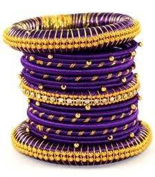 Buy Dark Purple Silk thread bangle  (12 PCS) bangles-and-bracelet online