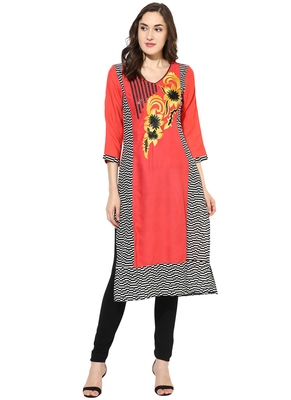 pink embroidered rayon stitched kurti