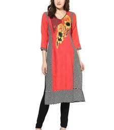 pink embroidered rayon stitched kurti