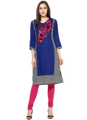 royal_blue embroidered rayon stitched kurti