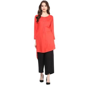 red plain rayon stitched kurti