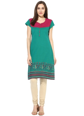 green printed cotton stitched kurti