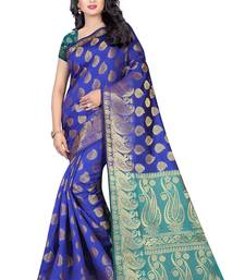 Buy Blue printed banarasi silk saree with blouse banarasi-saree online