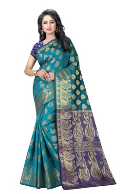 6184165c51 Multicolor printed banarasi silk saree with blouse - Awesome - 2066620