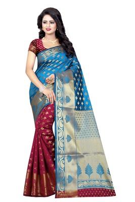 Multicolor printed banarasi silk saree with blouse