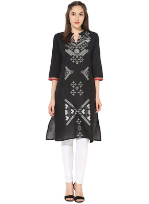 dark_black printed cotton stitched kurti