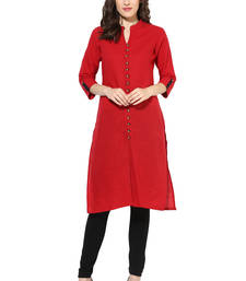 Buy red plain cotton stitched kurti kurtas-and-kurti online