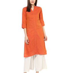 Buy orange plain cotton stitched kurti wedding-season-sale online