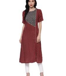 Buy maroon printed rayon stitched kurti kurtas-and-kurtis online