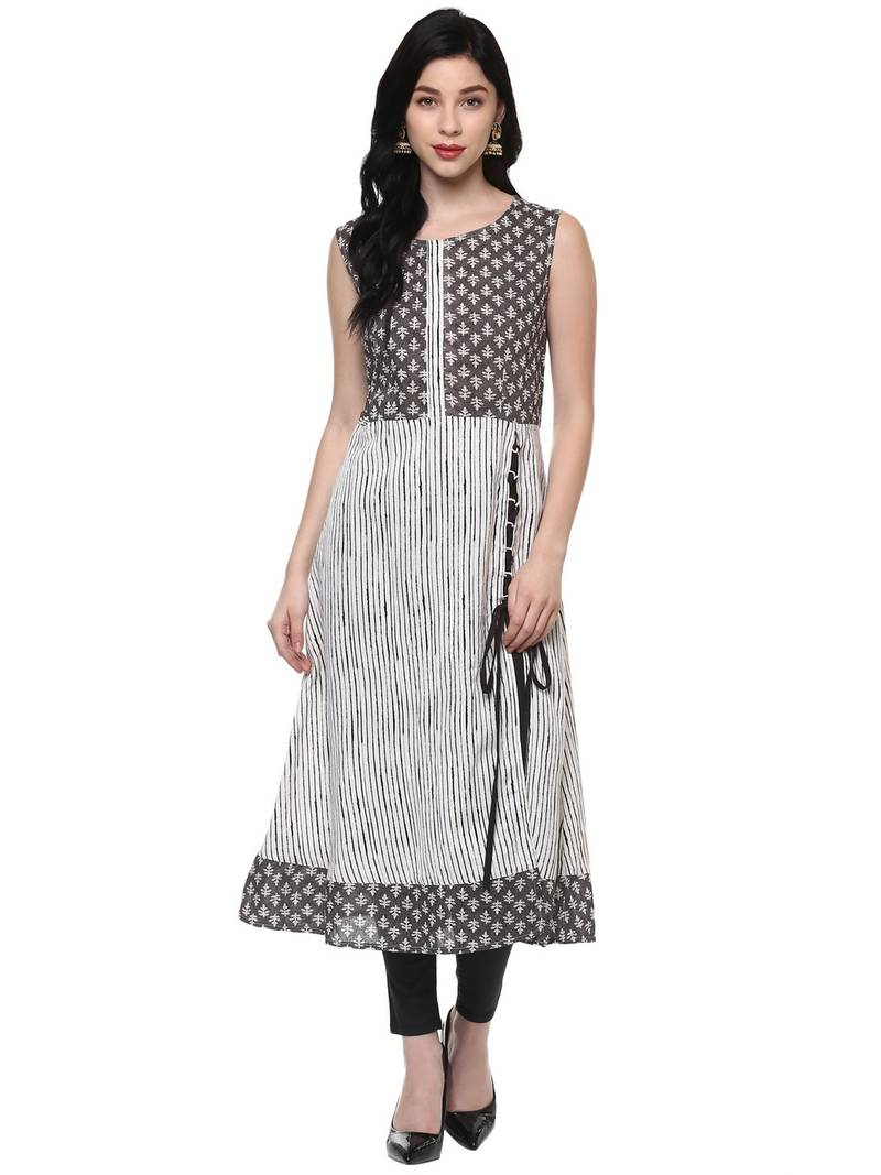 41cf86a30169c off white printed cotton stitched kurti - Pannkh - 2066666
