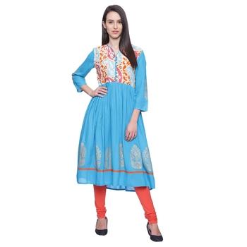 turquoise Printed rayon stitched kurti
