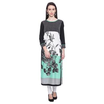sea_green Printed rayon stitched kurti