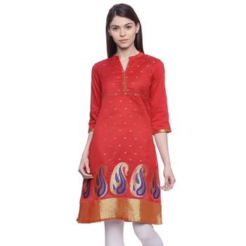 red Embroidered chanderi stitched kurti