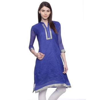 Dark_Blue Embroidered chanderi stitched kurti