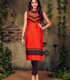 Buy Dark orange plain silk stitched party-wear-kurtis party-wear-kurtis online