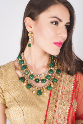 Kundan multilayered necklace set with green onyx tumble stones and pearls