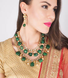 Buy Kundan multilayered necklace set with green onyx tumble stones and pearls necklace-set online
