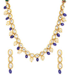 Buy Kundan string necklace set with blue onyx stones and shell pearls necklace-set online
