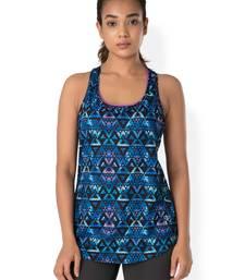 Buy Black Mosaic workout gym wear Racerback Tee workout-gym-wear online