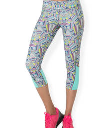 Buy Grey and Multi Colour and Print workout gym wear Cropped Legging workout-gym-wear online