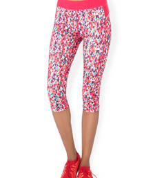Buy Pink and Multi Colour and Print workout gym wear Cropped Legging workout-gym-wear online