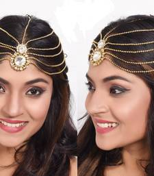 Fancy Design Matha Patti For Wedding Gold Finishing In White Stone