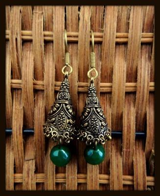 Golden Unique Jhumka - Dark Green