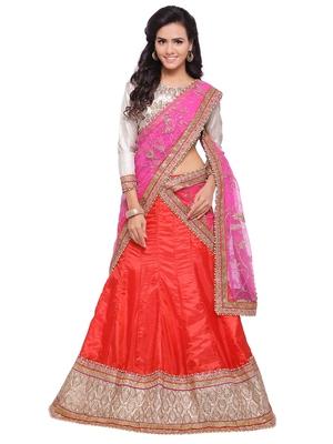 Orange embroidered silk unstitched lehenga with dupatta