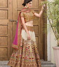 Buy Multicolor printed silk unstitched lehenga with dupatta ethnic-lehenga online