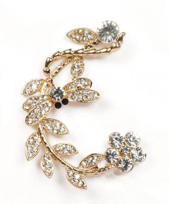 9blings flower shape CZ gold plated ear cuff ec17