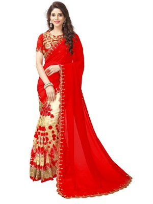 blood red embroidered faux georgette saree with blouse