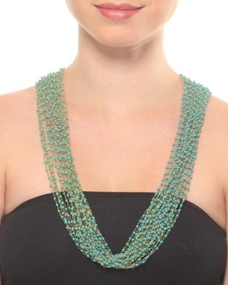 Turquoise Beaded Long Multistrand Necklace