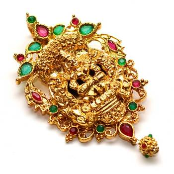 Anvi's big size lakshmi pendent (Temple Jewellery) with rubies and emeralds